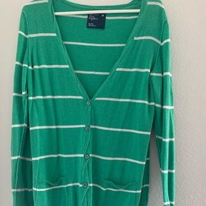 Green and White Stripe Cardigan